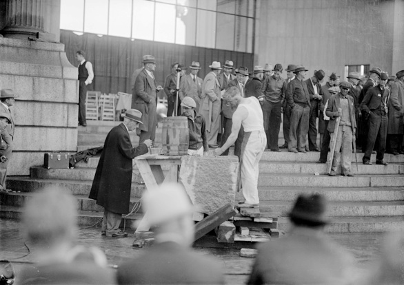 Fred C. Dopp at the Mining Institute drilling contest. Sept. 29th 1936. Civic Center. Denver CO. Courtesy Denver Public Library